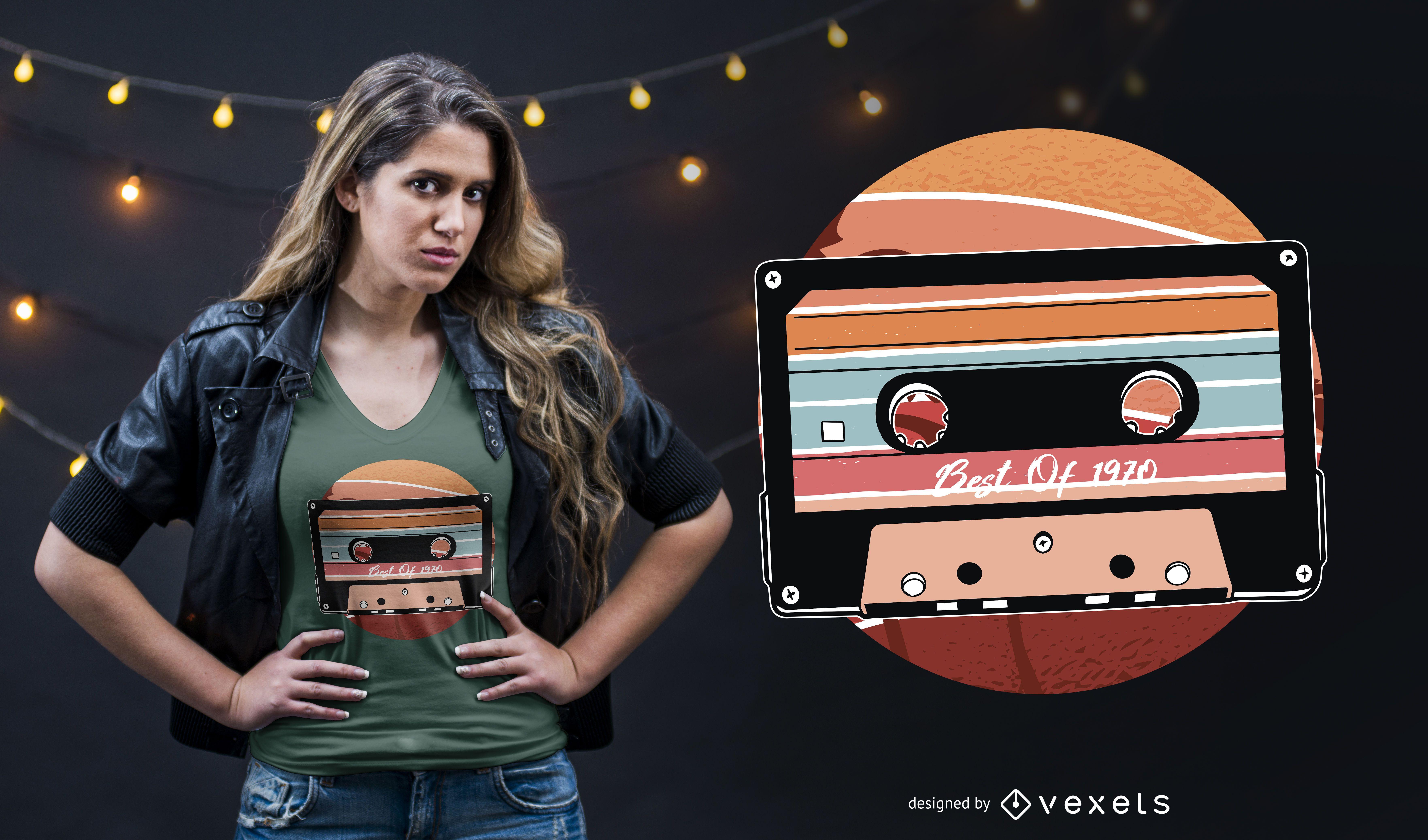 Diseño de camiseta de cassette vintage