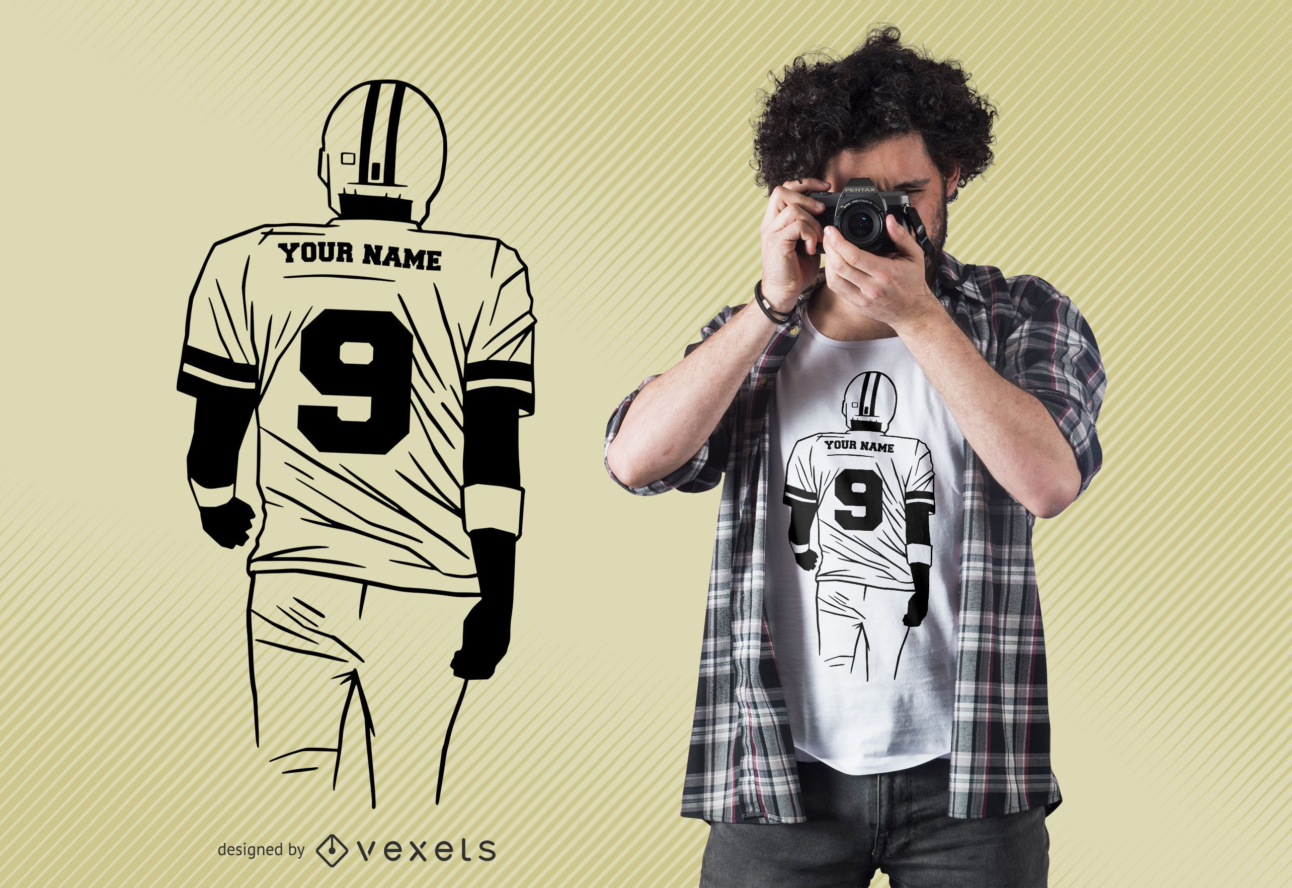 American football editable t-shirt design