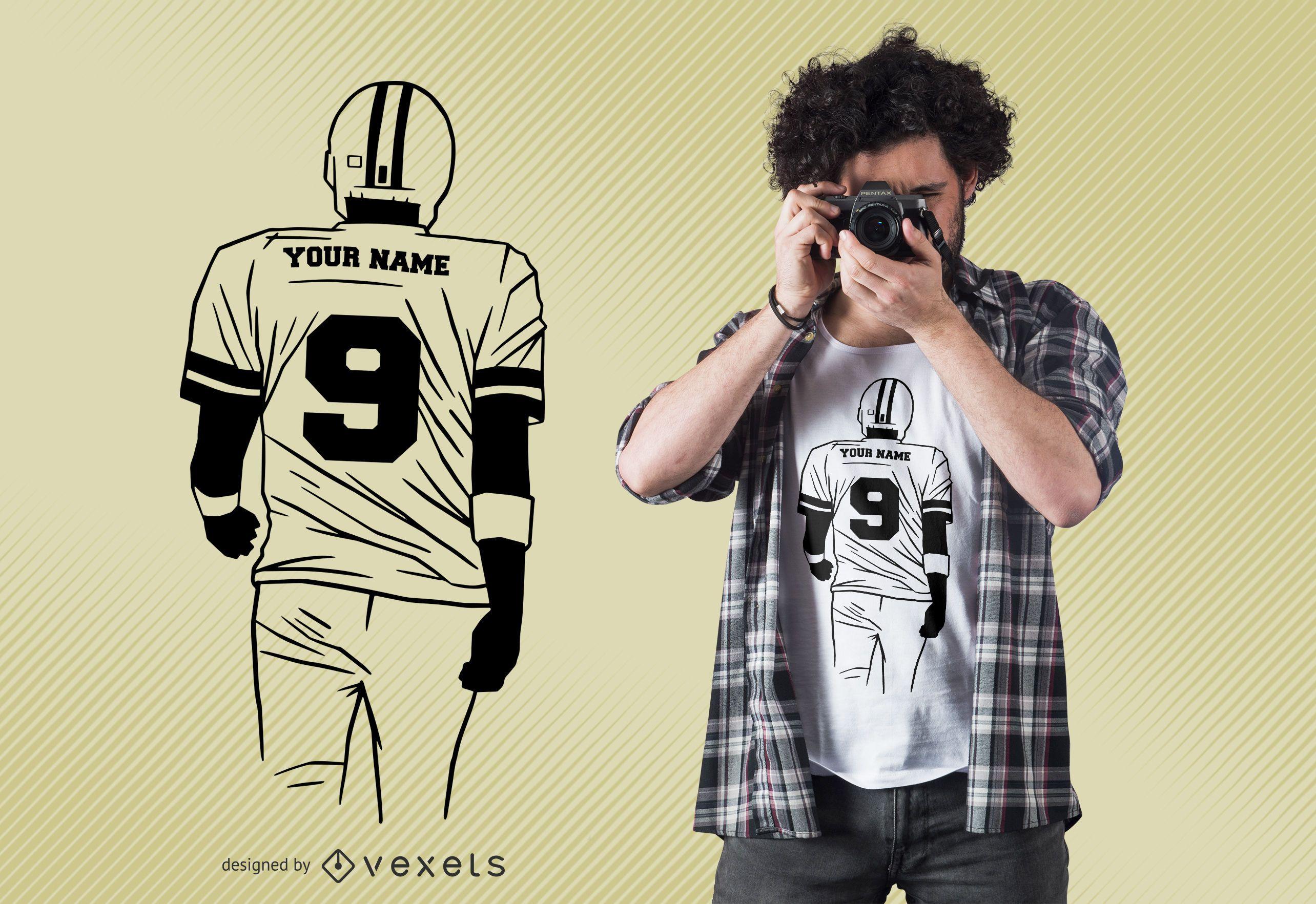 Diseño de camiseta editable de fútbol americano.