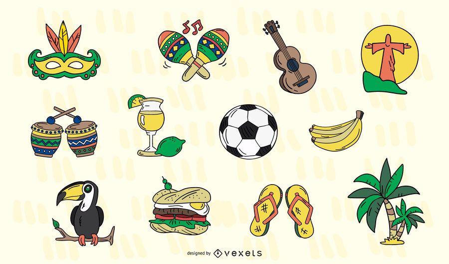 Conjunto de elementos do Brasil desenhado à mão