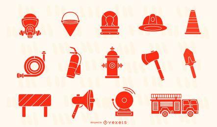 Colección de elementos de bombero