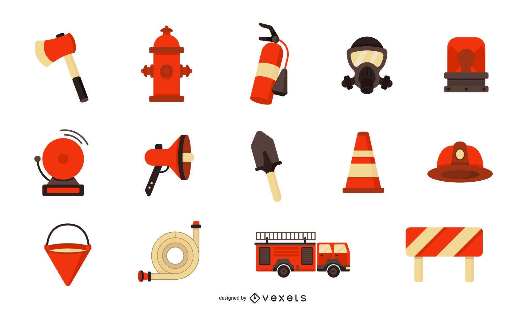 Colección plana de elementos de bombero