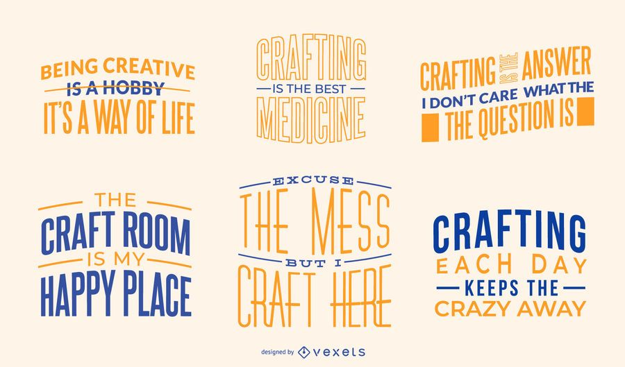 Crafting quotes lettering pack