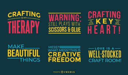 Crafting colorful letterings set