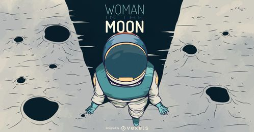 Astronaut woman illustration