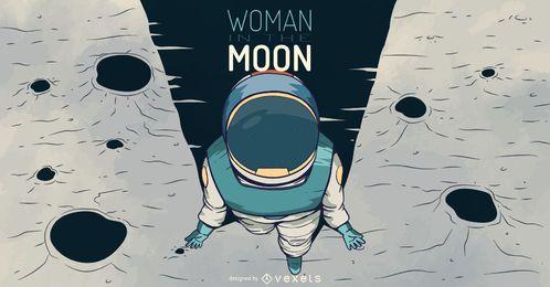 Ilustración de mujer astronauta