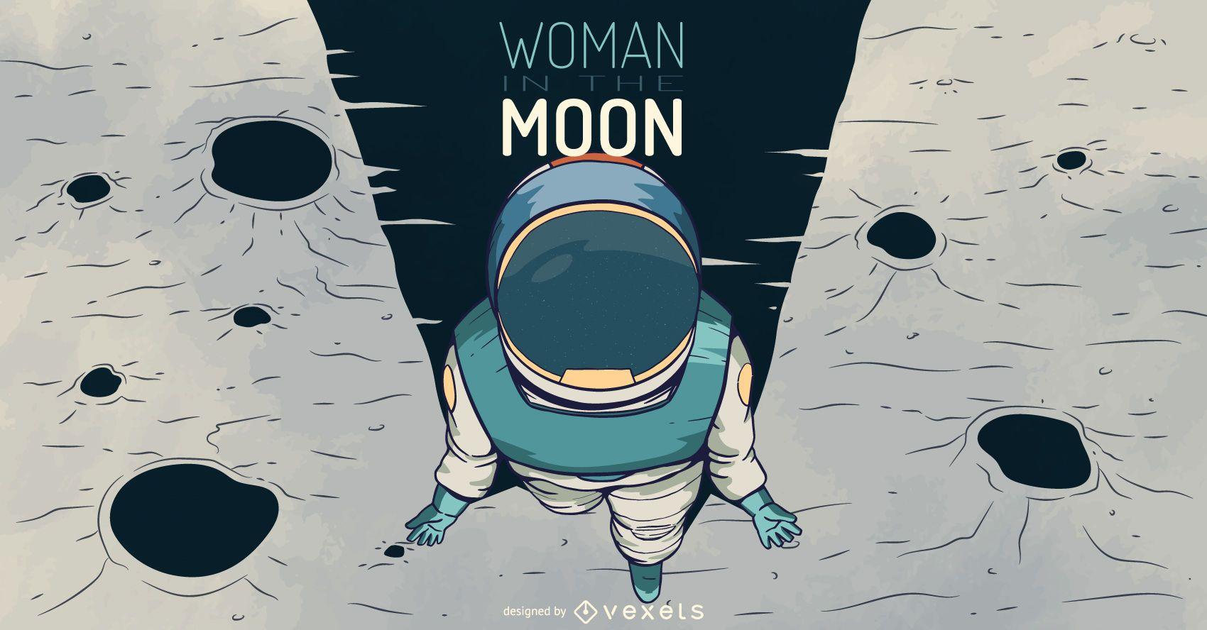 Astronaut woman illustration