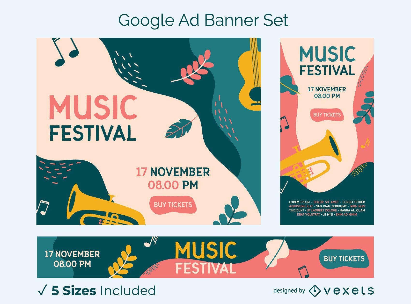 Conjunto de banner colorido de festival de música