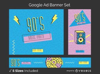Conjunto de banners publicitarios de memphis de los 90