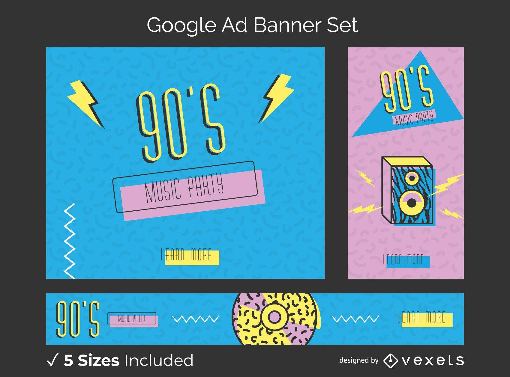 Conjunto de banners de anúncios memphis dos anos 90