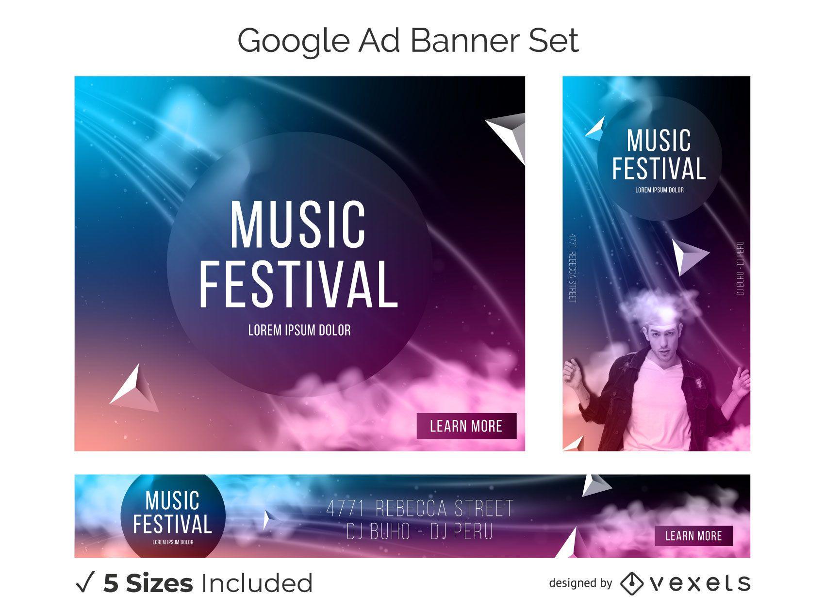 Conjunto de banner de anúncio abstrato de festival de música