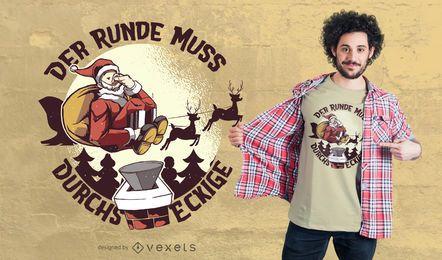 Design de t-shirt alemão citação de Papai Noel