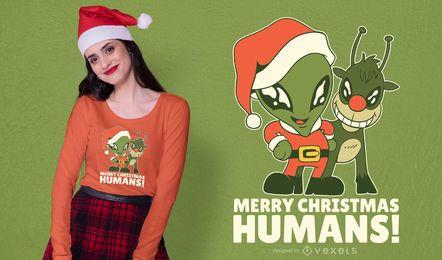Menschen-T-Shirt Design der frohen Weihnachten