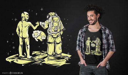 Diseño de camiseta de Bump fist alien