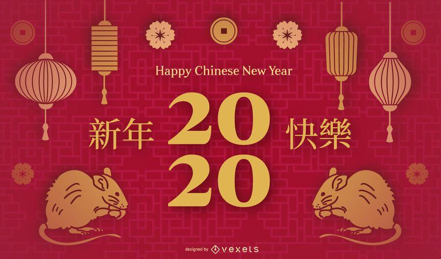 Plantilla de diapositiva de año nuevo chino