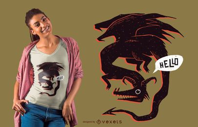 Diseño de camiseta Hello dragon