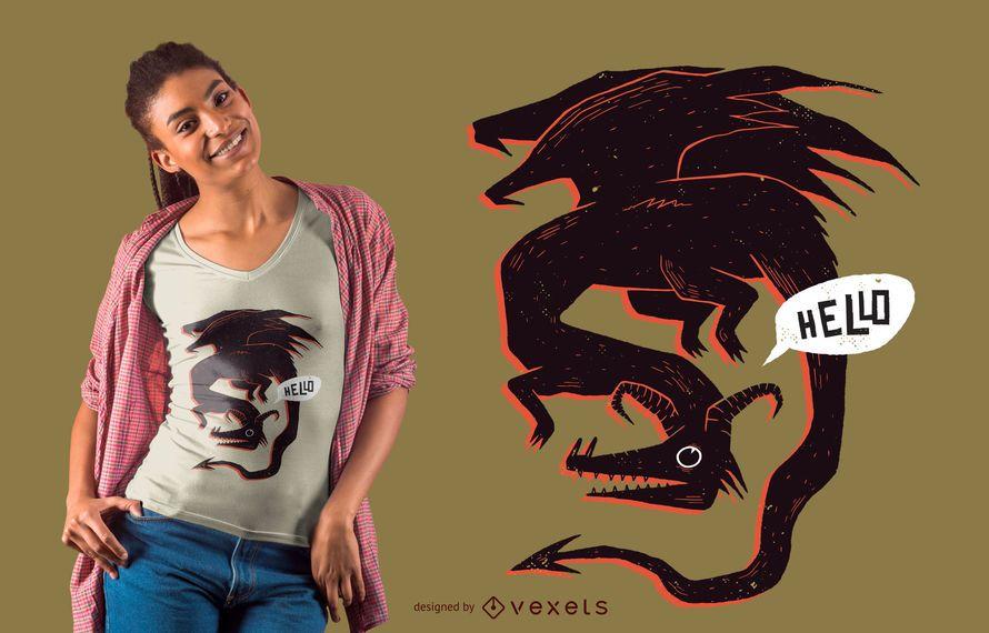 Hello dragon t-shirt design