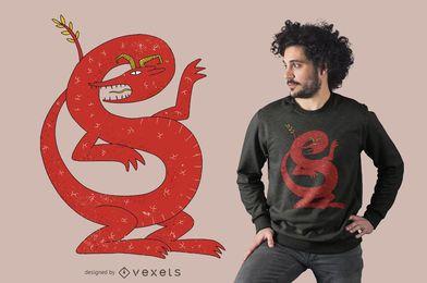 Diseño de camiseta de dragón rojo
