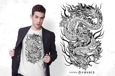 Diseño de camiseta de dragón mítico
