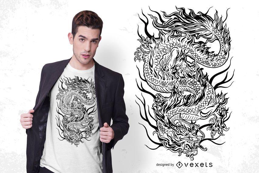 Design de t-shirt de dragão mítico