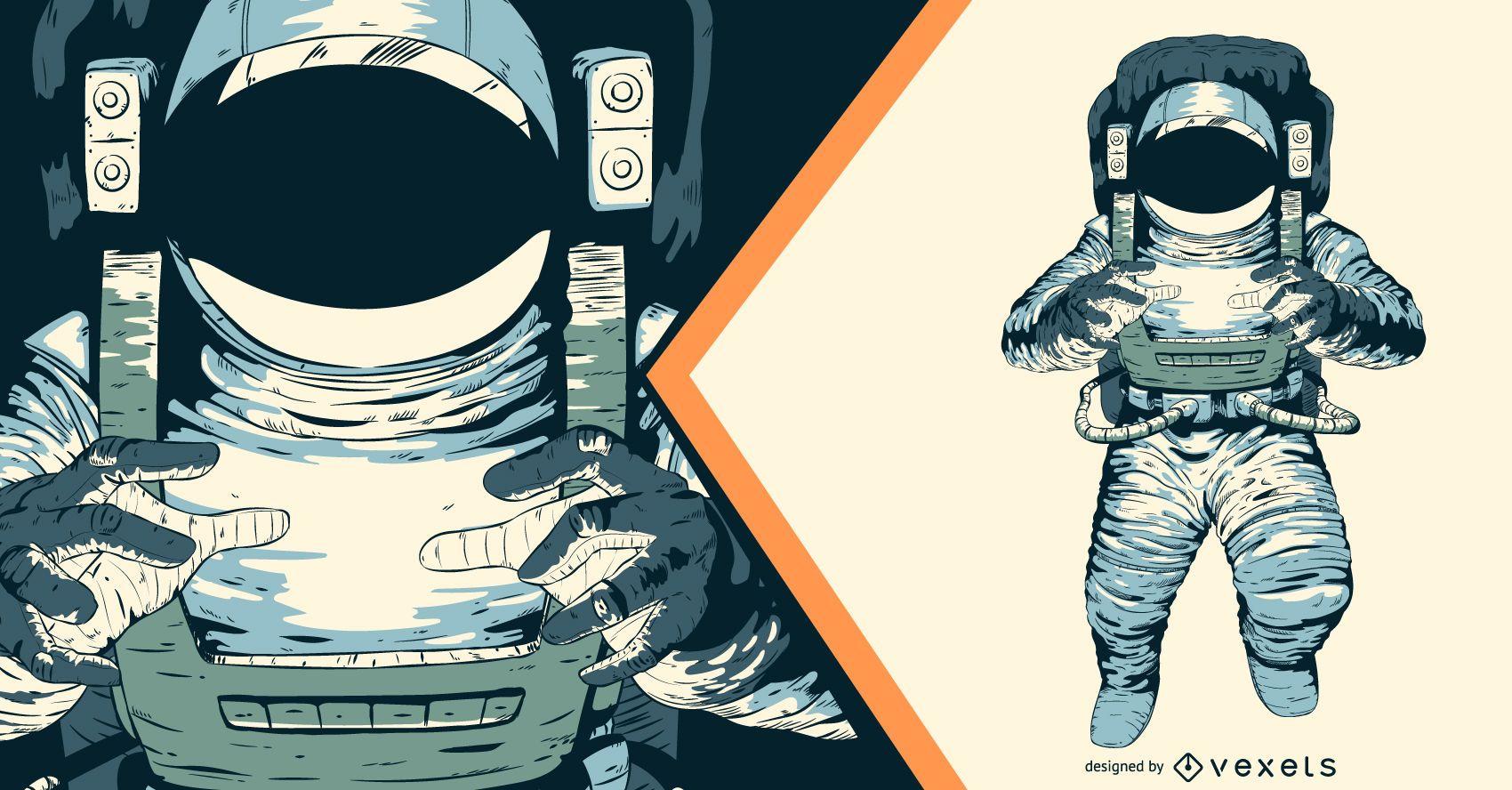 Diseño de ilustración artística astronauta.