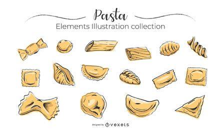 Colección de pasta dibujada a mano