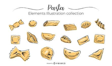 Hand drawn pasta collection