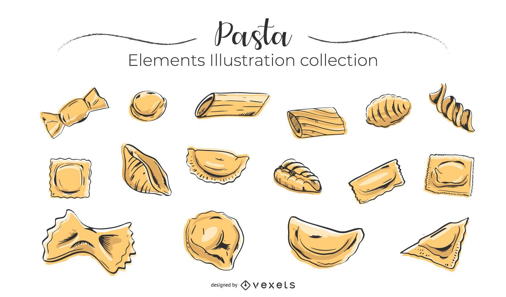 Coleção de macarrão desenhada à mão