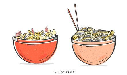 Conjunto de ilustración de cuencos de pasta