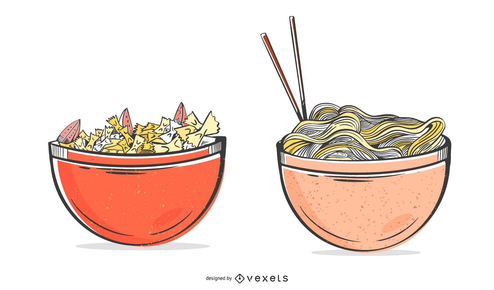 Pasta bowls illustration set