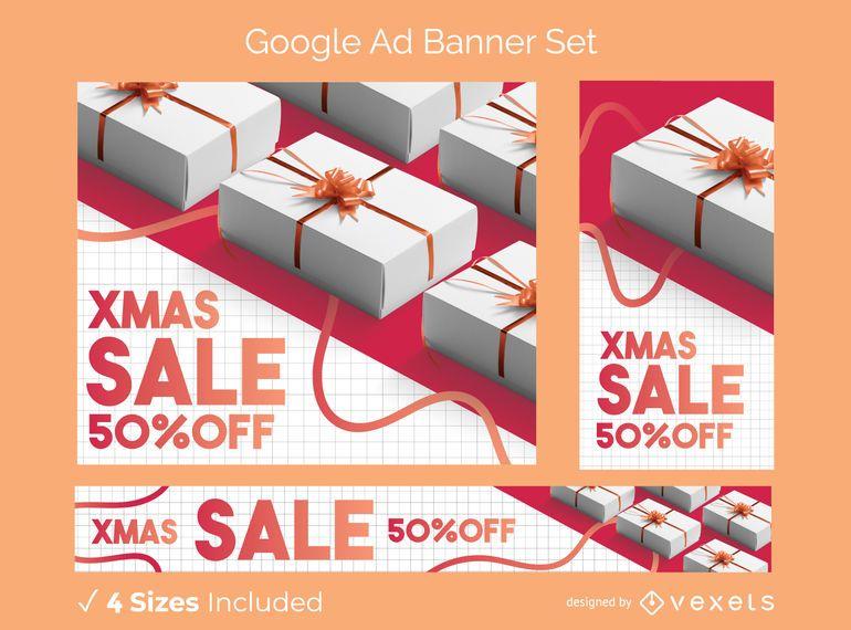 Conjunto de banner de anúncio de foto de Natal