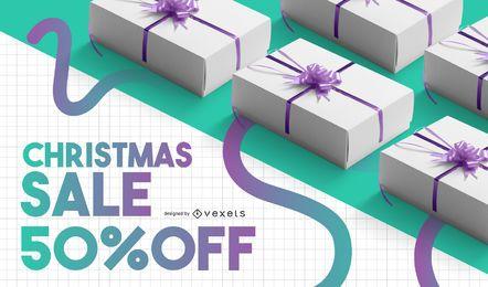 Modelo de banner de venda de Natal