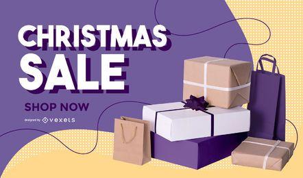 Banner editável de foto de liquidação de Natal