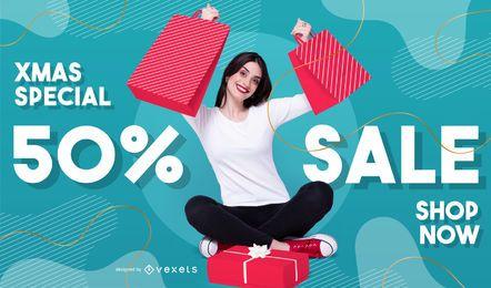 Modelo de banner com foto de venda de Natal