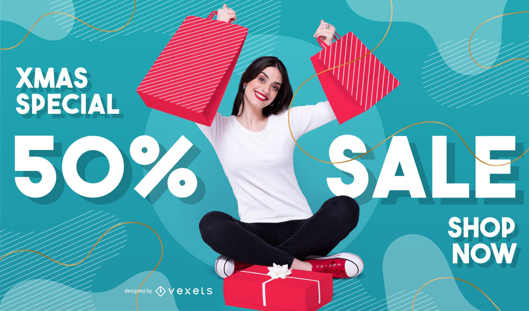 Xmas sale photo banner template