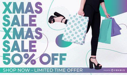 Banner de foto editável de venda de Natal
