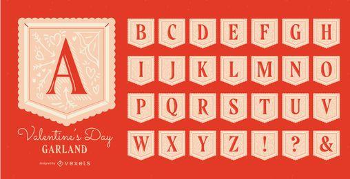 Conjunto de alfabeto de guirnalda de san valentín