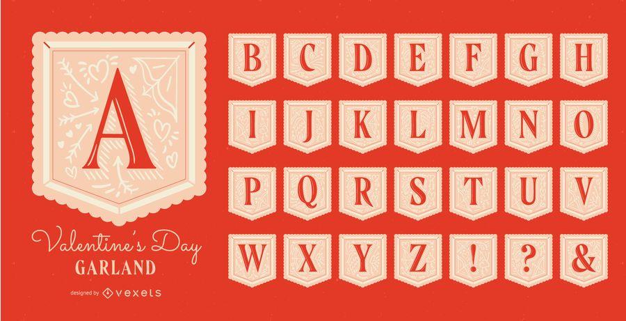 Conjunto de alfabeto guirlanda de dia dos namorados