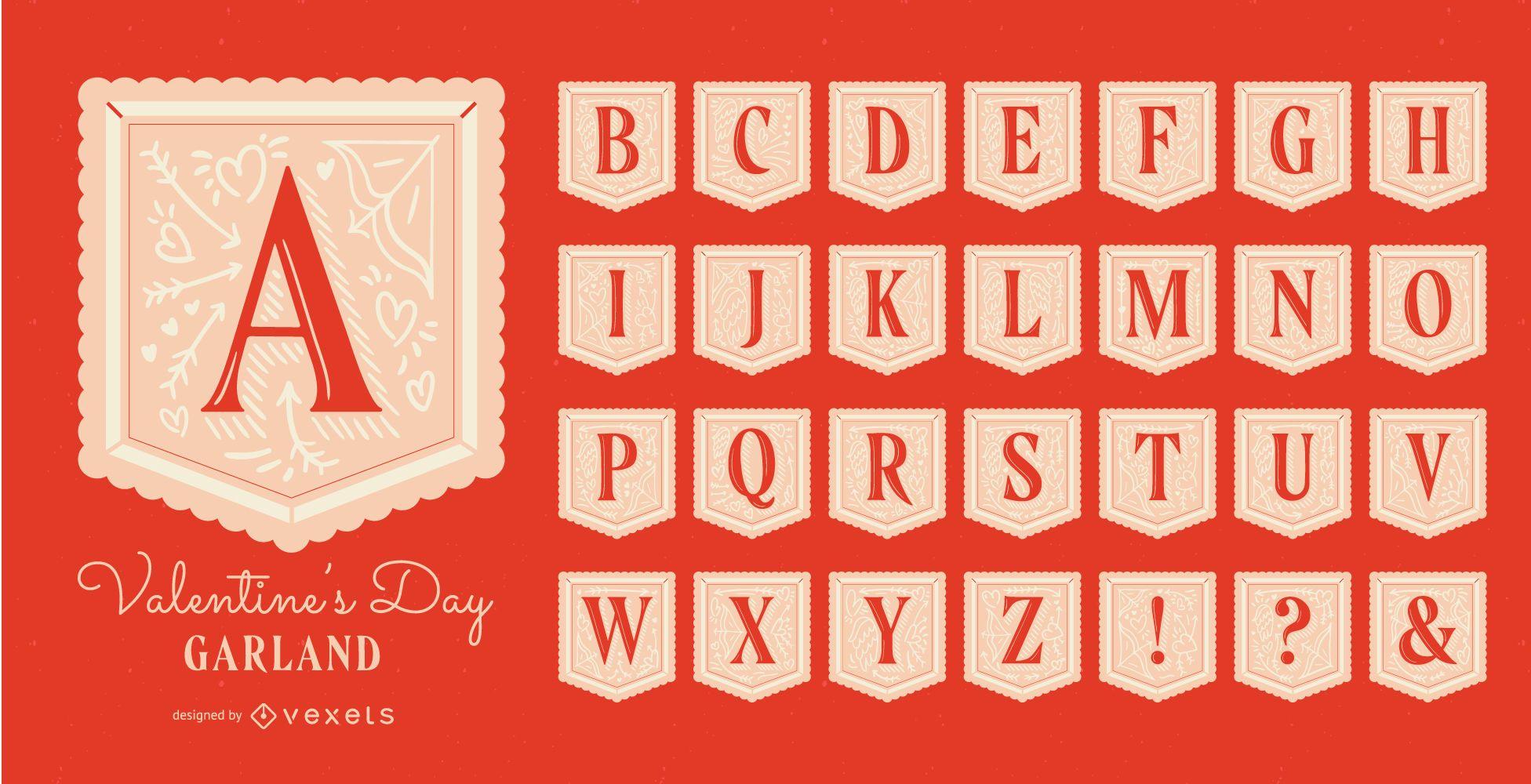 Conjunto de alfabeto de guirlanda do dia dos namorados