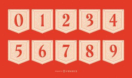 Conjunto de números de guirlanda de dia dos namorados