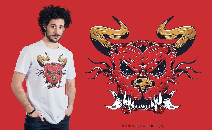 Diseño de camiseta de cabeza de dragón enojado