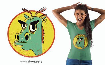 Genial diseño de camiseta de dragón