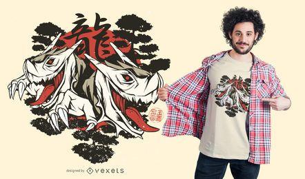 Diseño de camiseta de dragones japoneses