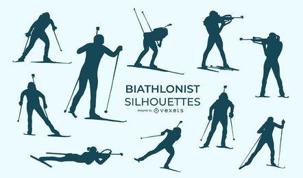 Biathlonist sport silhouette set