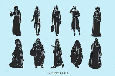 Pacote de silhueta de mulheres islâmicas