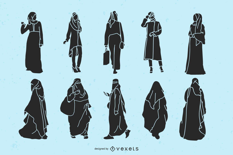 Paquete de silueta de mujeres islámicas
