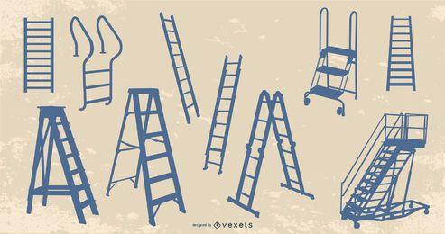 Paquete de diseño de silueta de escalera
