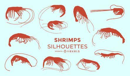 Coleção de silhueta de camarão