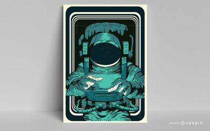 Desenho de pôster de astronauta