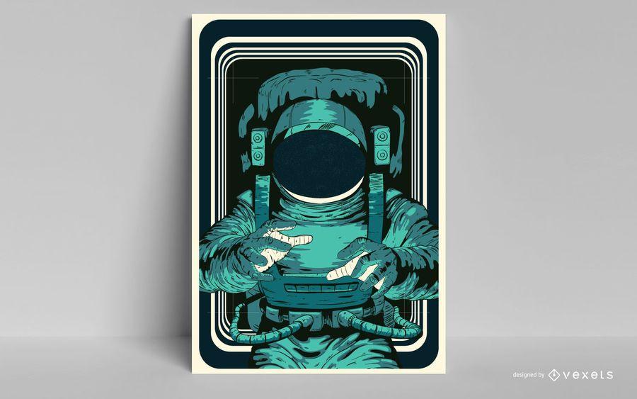Diseño de póster de astronauta